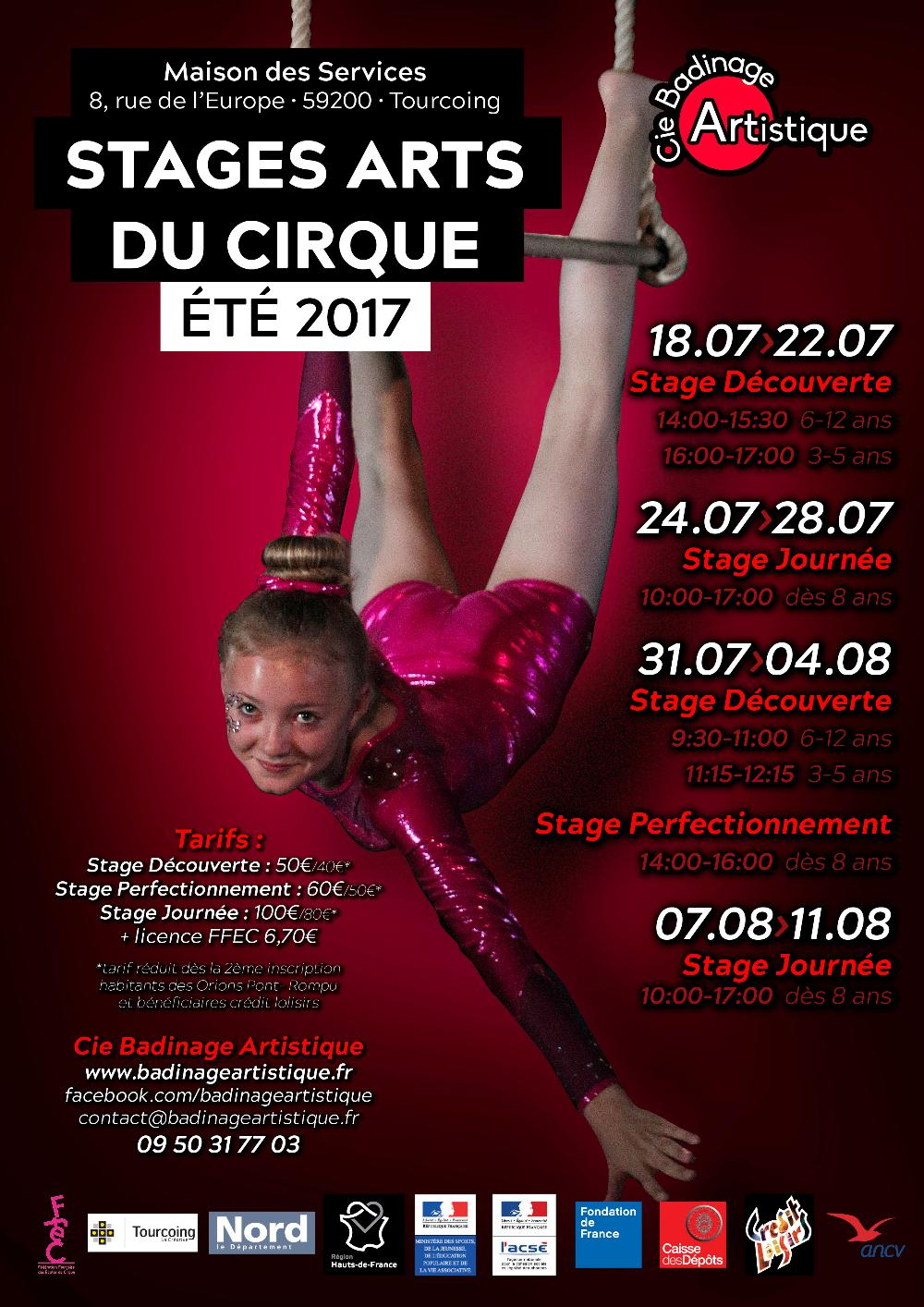 stage cirque vacances - Tourcoing - Compagnie Badinage Artistique